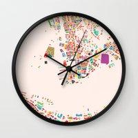 hong kong Wall Clocks featuring Hong Kong by Maps Factory