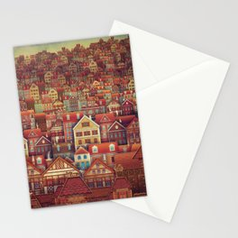 Cute City Street Scene ,Many Houses Stationery Cards