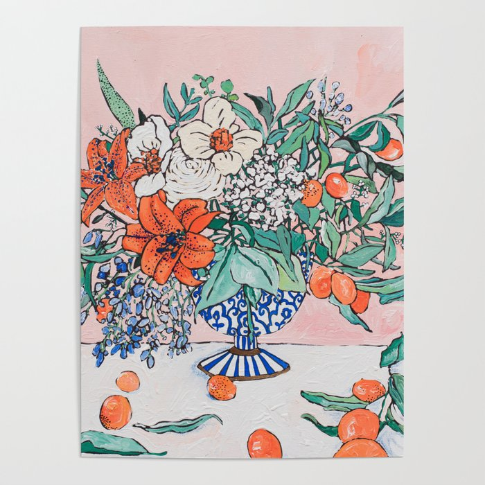 California Summer Bouquet - Oranges and Lily Blossoms in Blue and White Urn Poster