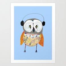 Owl with Headphones. Art Print