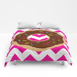 Donut on Pink & White Comforters