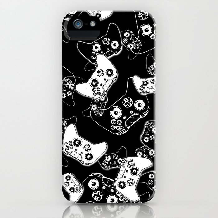 video game white on black iphone case
