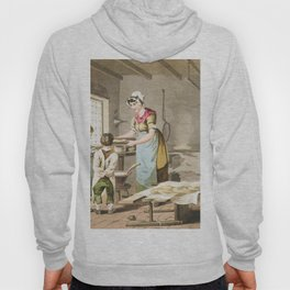 Illustration of woman making oat cakes from The Costume of Yorkshire (1814) by George Walker (1781-1 Hoody