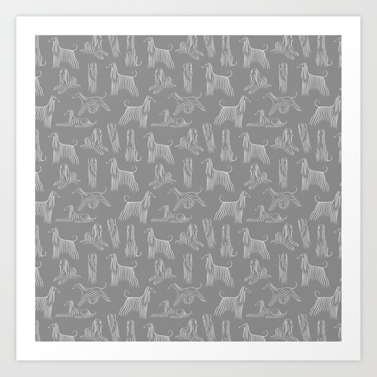 Afghan Hounds on Grey Background by illucalliart