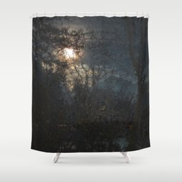 New Year's Moonlit River Shower Curtain