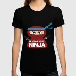 9th Birthday Ninja Party Samurai Ninjas Gift Japanese Ninja stars Fighter Gift T-shirt