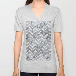 Vintage chic elegant blue gray white geometrical floral pattern Unisex V-Neck
