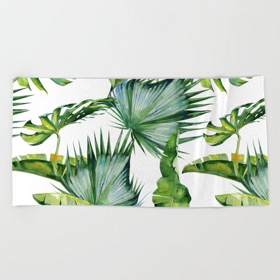 Tropical Island Plants on White Beach Towel