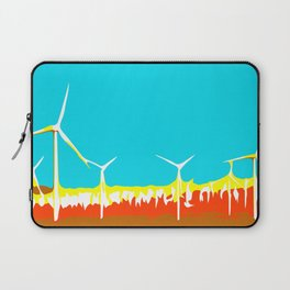 wind turbine in the desert with blue sky Laptop Sleeve