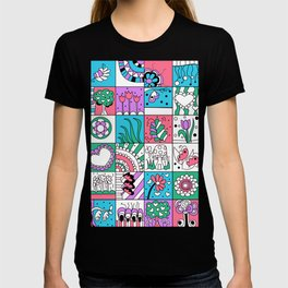 Inchies Doodle Design - Dark Pink Purple Blue - Spring T-shirt