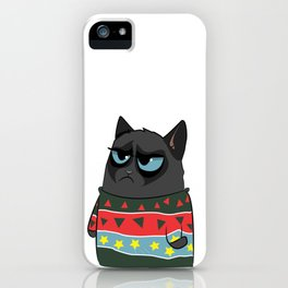 Black Cat in Christmas Sweater 02 iPhone Case