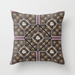 Cherokee Rose Pattern 2 black brown pink Throw Pillow