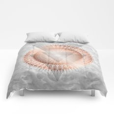 Rose Gold Marble Geometric Comforters