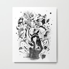 The Great Horse Race! B&W Edition Metal Print