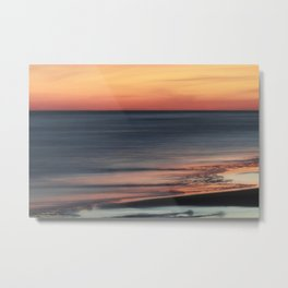 Fiery Sunset Over Galveston Beach Texas Metal Print