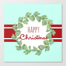 Happy Christmas striped holiday Canvas Print