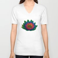 lotus V-neck T-shirts featuring Lotus  by Luna Portnoi