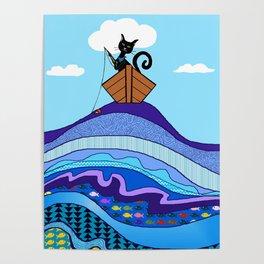 Cat  Fishing Poster