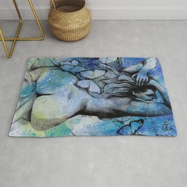 Sugar Coated Sour (nude curvy pin up with butterflies) Rug