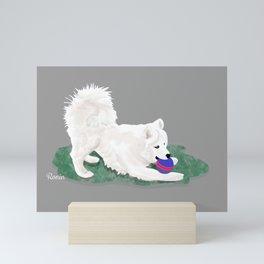 Ronin at Play; Samoyed Puppy Mini Art Print