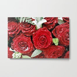 Bouquet of red roses in the rain I Metal Print