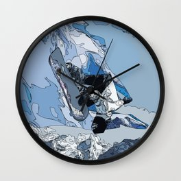 Ski over avalanche//snow mountain//Mountain Ski Landscape Blue and White sketch Vibes Wall Clock