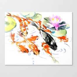 Nine Koi Fish, 9 KOI, feng shui artwork asian watercolor ink painting Canvas Print