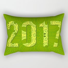 2017 year illustration decorated with abstract  decorative pattern in green colors. Rectangular Pillow