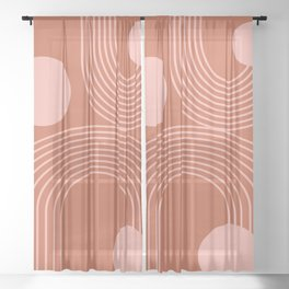 Lines in Terracotta and Blush Sheer Curtain