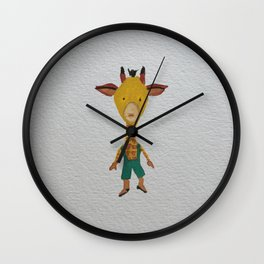 Giraffe Jungle Friends Baby Animal Water Color Wall Clock