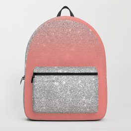 Modern chic coral pink silver glitter ombre gradient Backpack