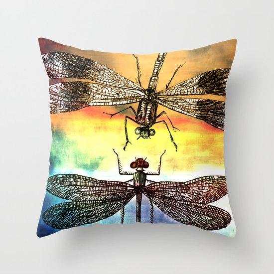 DRAGONFLY meets a Friend Throw Pillow