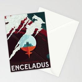 NASA Retro Space Travel Poster #3 - Enceladus Stationery Cards