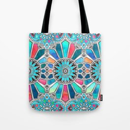 Iridescent Watercolor Brights on White Tote Bag