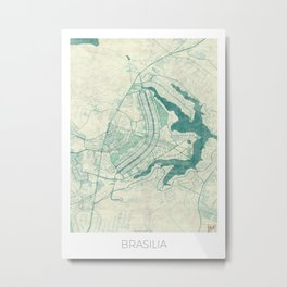 Brasilia Map Blue Vintage Metal Print