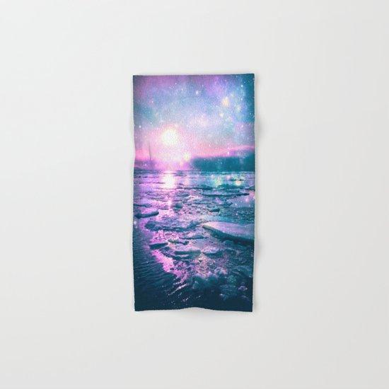 Mystic Waters Vibrant Pink Blue Lavender Hand & Bath Towel