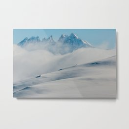 Snowy Mountains Above Clouds Metal Print
