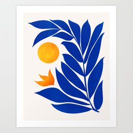 Indigo Garden Sunset Art Print