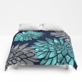 Floral Chrysanthemum Modern Navy Aqua Comforters