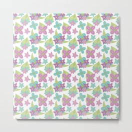 Teal and purple flowers with green leaves on a white background Metal Print