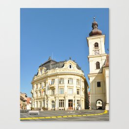 sibiu romania city hall building landmark architecture Canvas Print