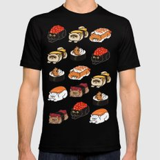 Sushi Persian Cat Black Mens Fitted Tee SMALL