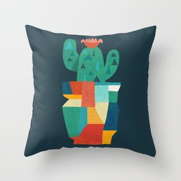 Blooming cactus in cracked pot Throw Pillow