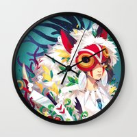 princess mononoke Wall Clocks featuring Princess Mononoke by Stephanie Kao