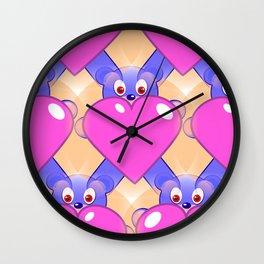 Whimsy Bears and Hearts Wall Clock