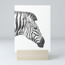 Black and White Zebra Profile Mini Art Print