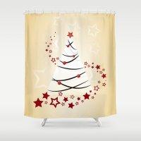 christmas tree Shower Curtains featuring christmas tree by Li-Bro