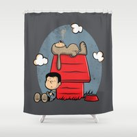 best friend Shower Curtains featuring Man's best friend by Hoborobo