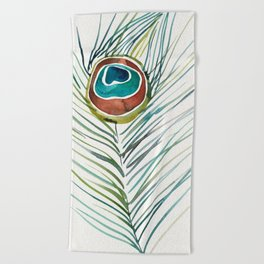 Peacock Tail Feather – Watercolor Beach Towel