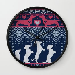 Fair Isle Knitting Doxie Love // navy blue background white and red dachshunds dogs bones paws and hearts Wall Clock
